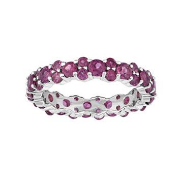 Sterling Silver Rhodolite Garnet Eternity Ring