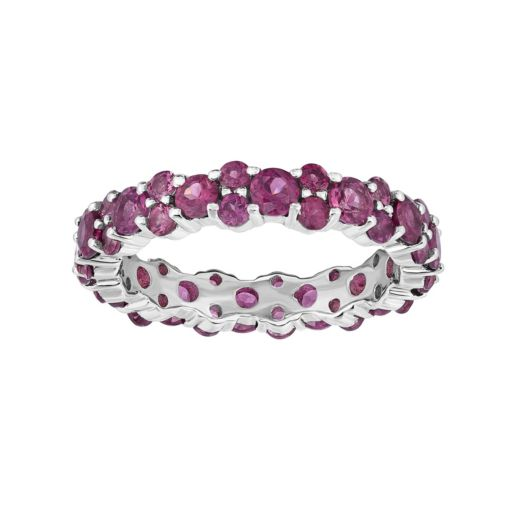 Sterling Silver Rhodolite Garnet Eternity Ring