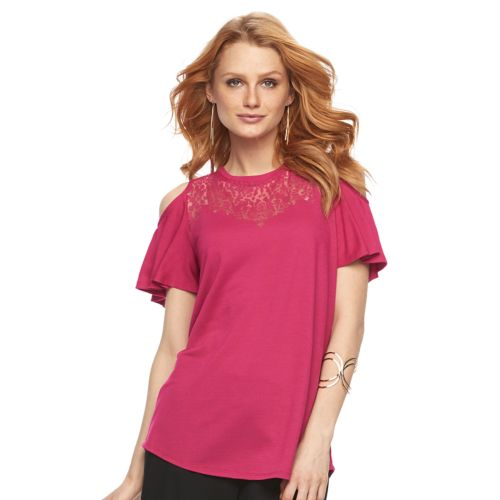 Women's Apt. 9® Cold-Shoulder Burnout Tee