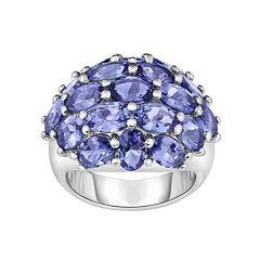 Sterling Silver Tanzanite Cluster Ring by