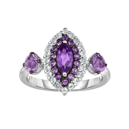 Sterling Silver Amethyst & White Zircon Marquise Ring