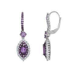 Sterling Silver Amethyst & White Zircon Marquise Drop Earrings