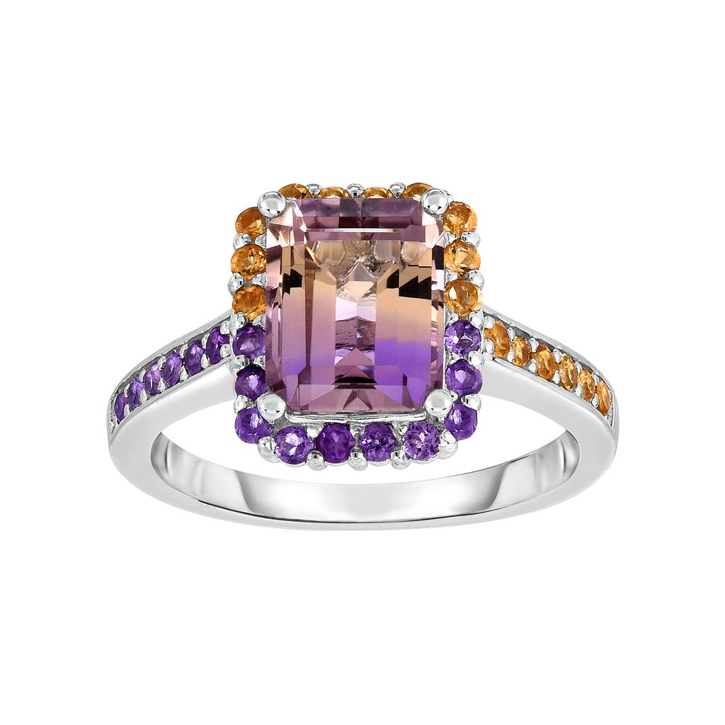 Sterling Silver Ametrine Rectangle Halo Ring