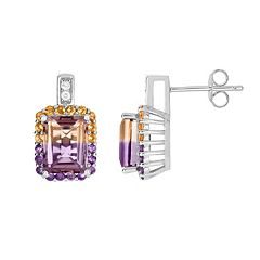 Sterling Silver Ametrine Rectangle Halo Drop Earrings