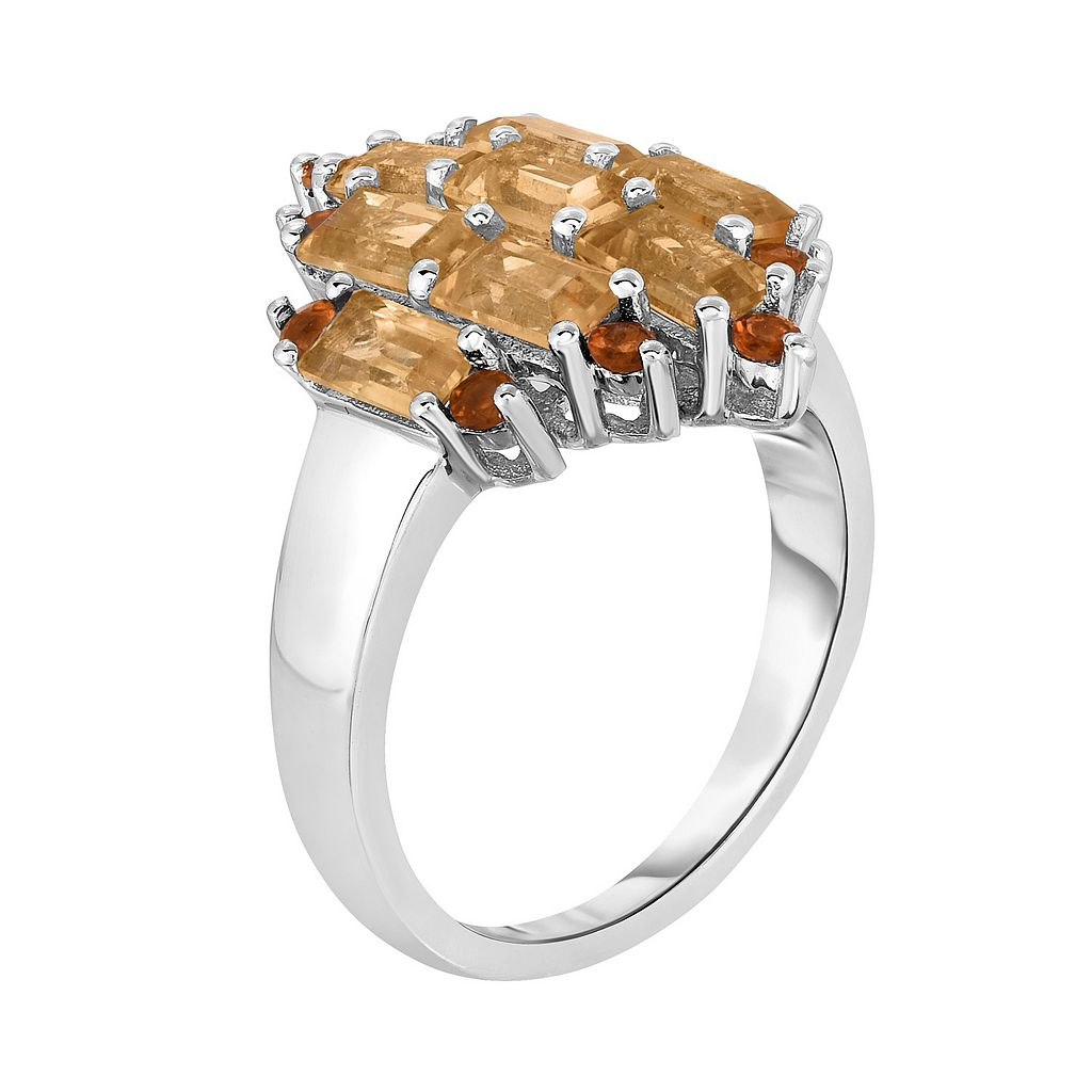 Sterling Silver Citrine & Madeira Citrine Cluster Ring