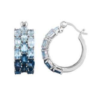 Sterling Silver Swiss, London & Sky Blue Topaz Hoop Earrings