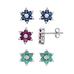 Sterling Silver Sapphire, Ruby & Emerald Flower Stud Earring Set
