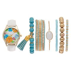 Vivani Women's Floral Crystal Watch & Bracelet Set