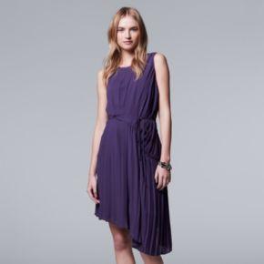 Petite Simply Vera Vera Wang Pleated Asymmetrical Shift Dress