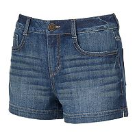 Juniors' SO® Faded Jean Shortie Shorts
