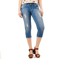 Juniors' Wallflower Crochet -Pocket Denim Capris