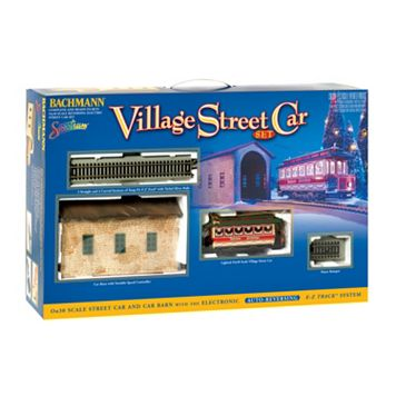 Bachmann Trains Christmas Village Streetcar On 30 Scale Ready-To-Run Electric Train Set