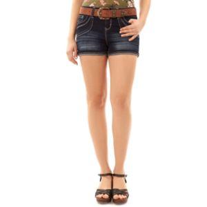 Juniors' Wallflower Luscious Curvy Contrast Jean Shortie Shorts