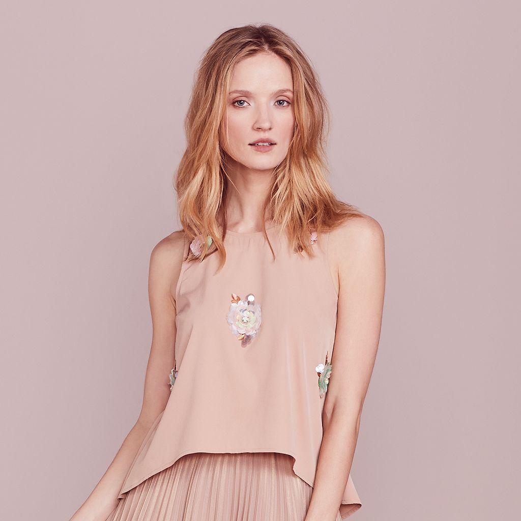 LC Lauren Conrad Dress Up Shop Collection Floral Paillette Top - Women's