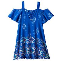 Girls 7-16 My Michelle Flounce Top Pom-Pom Trim Dress