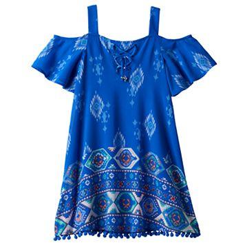 Girls 7-16 My Michelle Flounce Top Pom-Pom Trim Dress