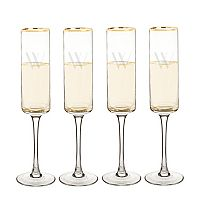 Cathy's Concepts 4 pc Monogram Gold Rim Champagne Flute Set
