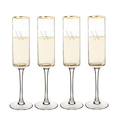 Cathy's Concepts 4-pc. Monogram Gold Rim Champagne Flute Set