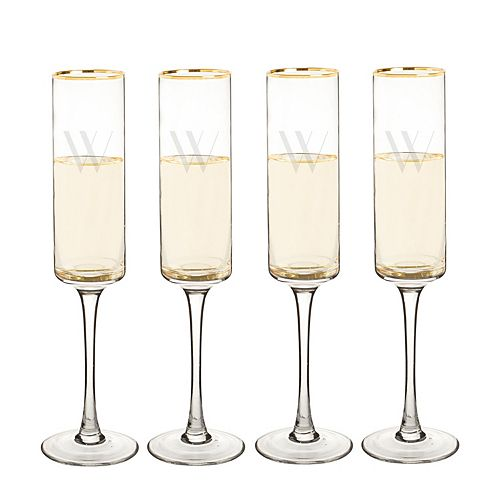 Cathy's Concepts 4-pc. Monogram Gold Rim Champagne Flute Set