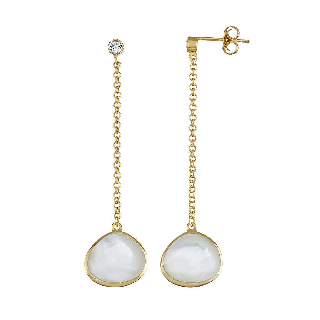 18k Gold Over Silver Mother-of-Pearl & Cubic Zirconia Linear Drop Earrings
