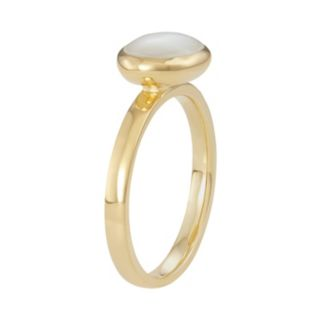 18k Gold Over Silver Mother-of-Pearl Ring