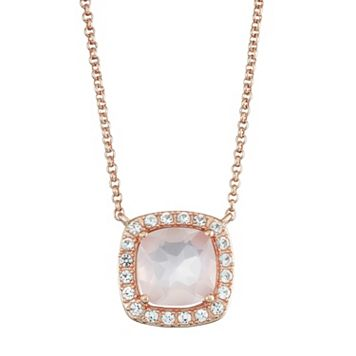14k Rose Gold Over Silver Rose Quartz & Lab-Created White Sapphire Halo Necklace