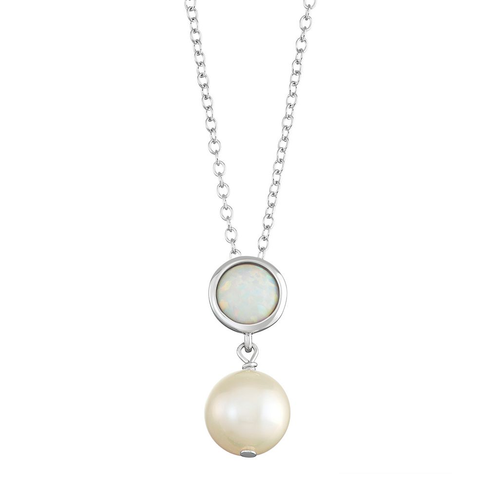Sterling Silver Lab-Created White Opal & Freshwater Cultured Pearl Pendant