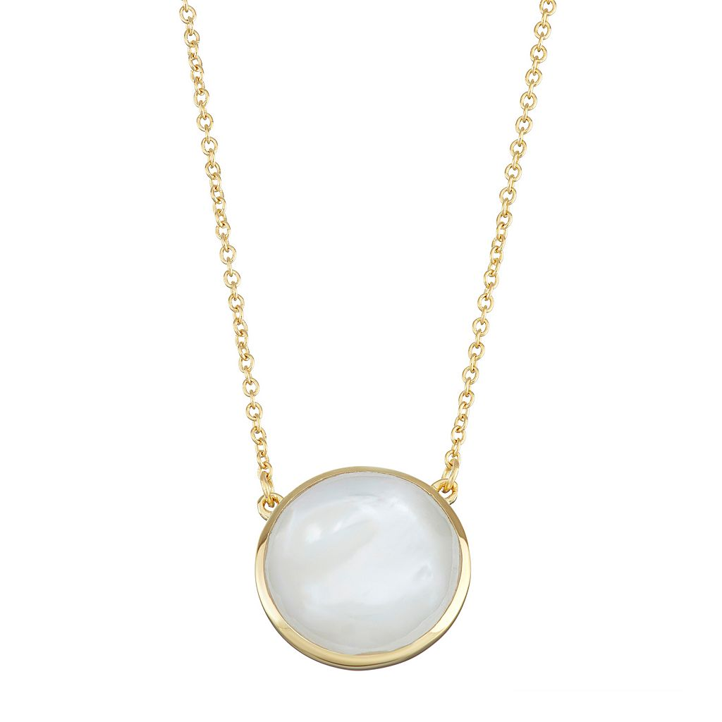 18k Gold Over Silver Mother-of-Pearl Necklace