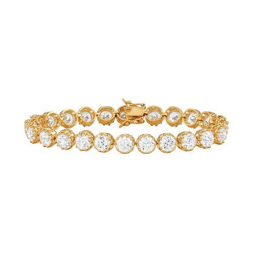 18k Gold Over Silver Cubic Zirconia Tennis Bracelet