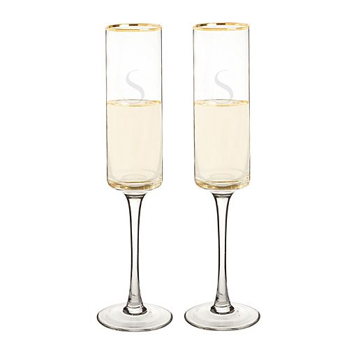 Cathy's Concepts 2-pc. Monogram Gold Rim Champagne Flute Set