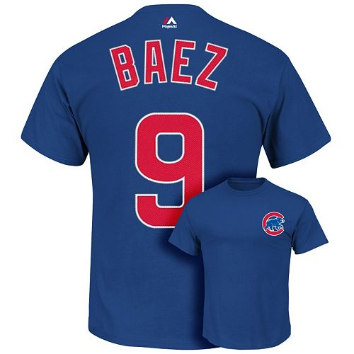 Men's Majestic Chicago Cubs Javier Baez Name and Number Tee