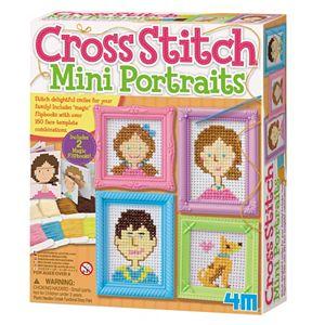 4M Cross Stitch Mini Portraits Craft Sewing Kit
