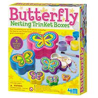 4M Paint-Your-Own Butterfly Nesting Trinket Box Kit