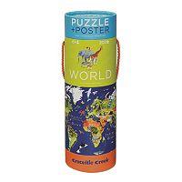 Crocodile Creek World Map 200 pc Jigsaw Puzzle & Matching Poster