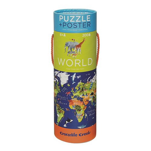 Crocodile Creek World Map 200-pc. Jigsaw Puzzle & Matching Poster