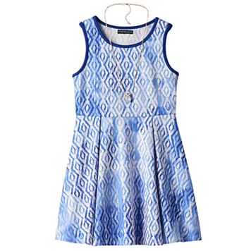 Girls 7-16 My Michelle Diamond Pattern Skater Dress with Necklace