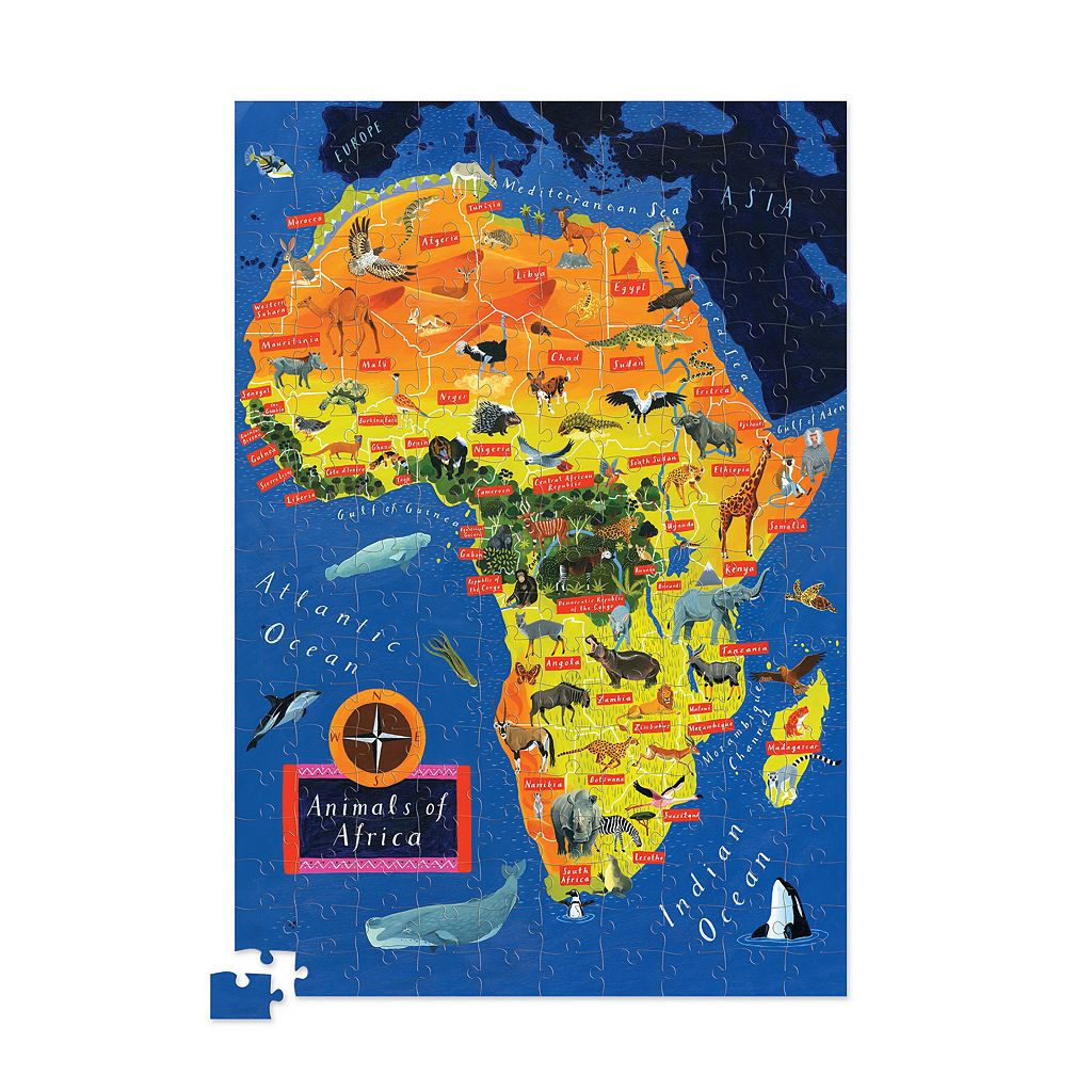 Crocodile Creek Africa Map 200-pc. Jigsaw Puzzle & Matching Poster