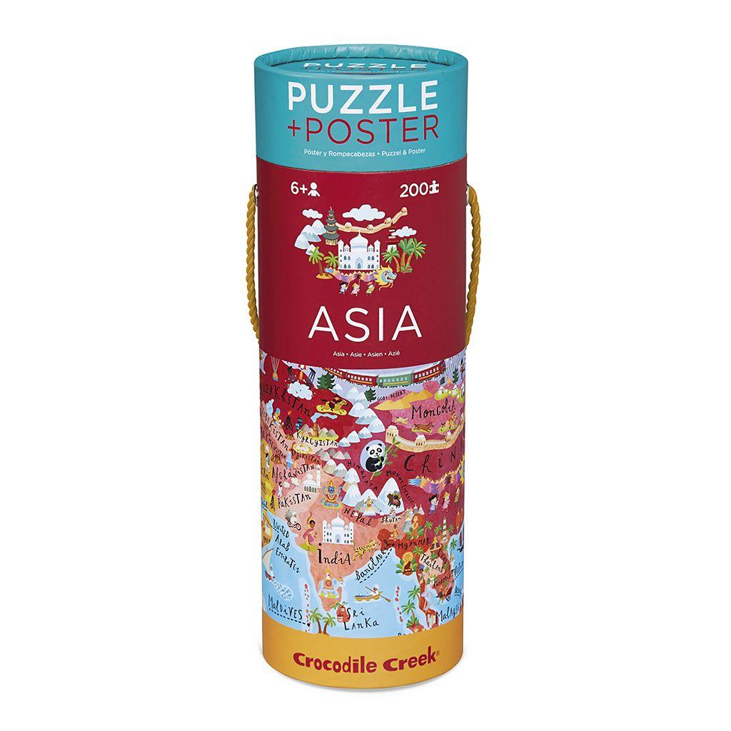 Crocodile Creek Asia Map 200-pc. Jigsaw Puzzle & Matching Poster
