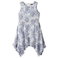 Girls 7-16 My Michelle Crochet Trim Patterned Chiffon Dress