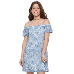 Juniors' Lily Rose Floral Lace Off The Shoulder Dress