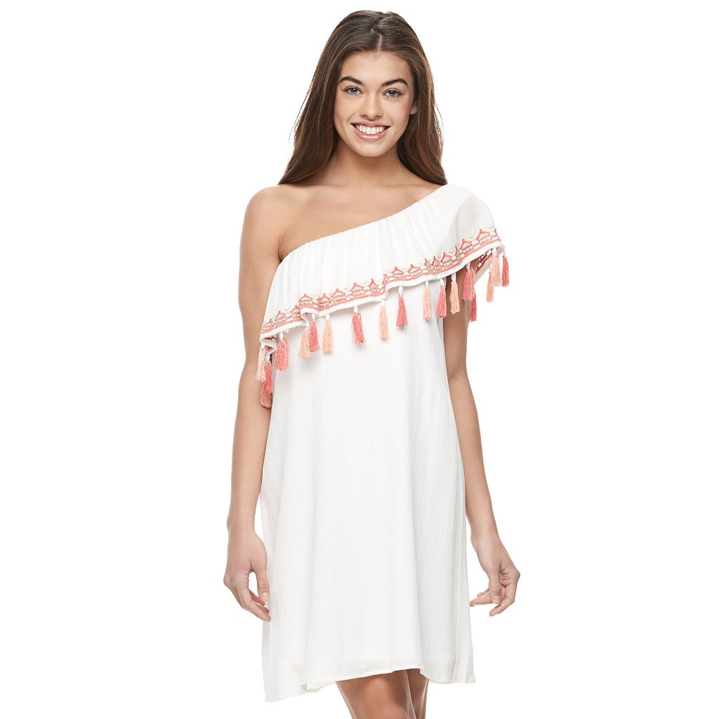 Juniors' Lily Rose Fringe One Shoulder Dress