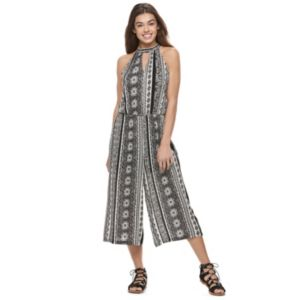 Juniors' Lily Rose Print Gaucho Jumpsuit