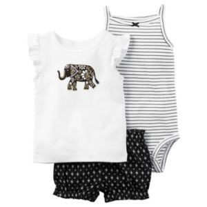 Baby Girl Carter's Striped Bodysuit, Elephant Tee & Bubble Shorts Set