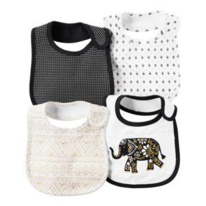 Baby Girl Carter's 4-pk. Mosaic, Elephant & Tile Bibs