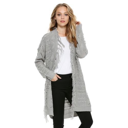 Women's E by Elan Eyelet Fringe Long Cardigan