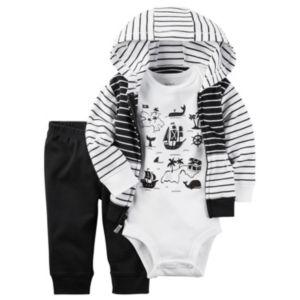 Baby Boy Carter's Treasure Island Bodysuit, Striped Hooded Cardigan & Pants Set