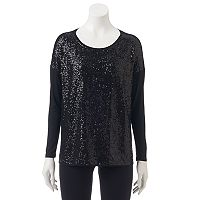 Women's WDNY Black Drop-Shoulder Sequin Top