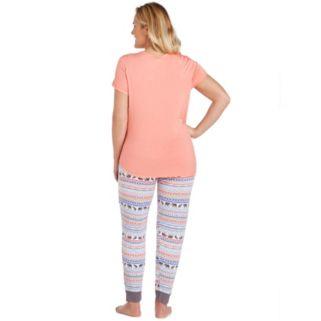 Plus Size Cuddl Duds Pajamas: Color Fusion Henley & Jogger Pants PJ Set
