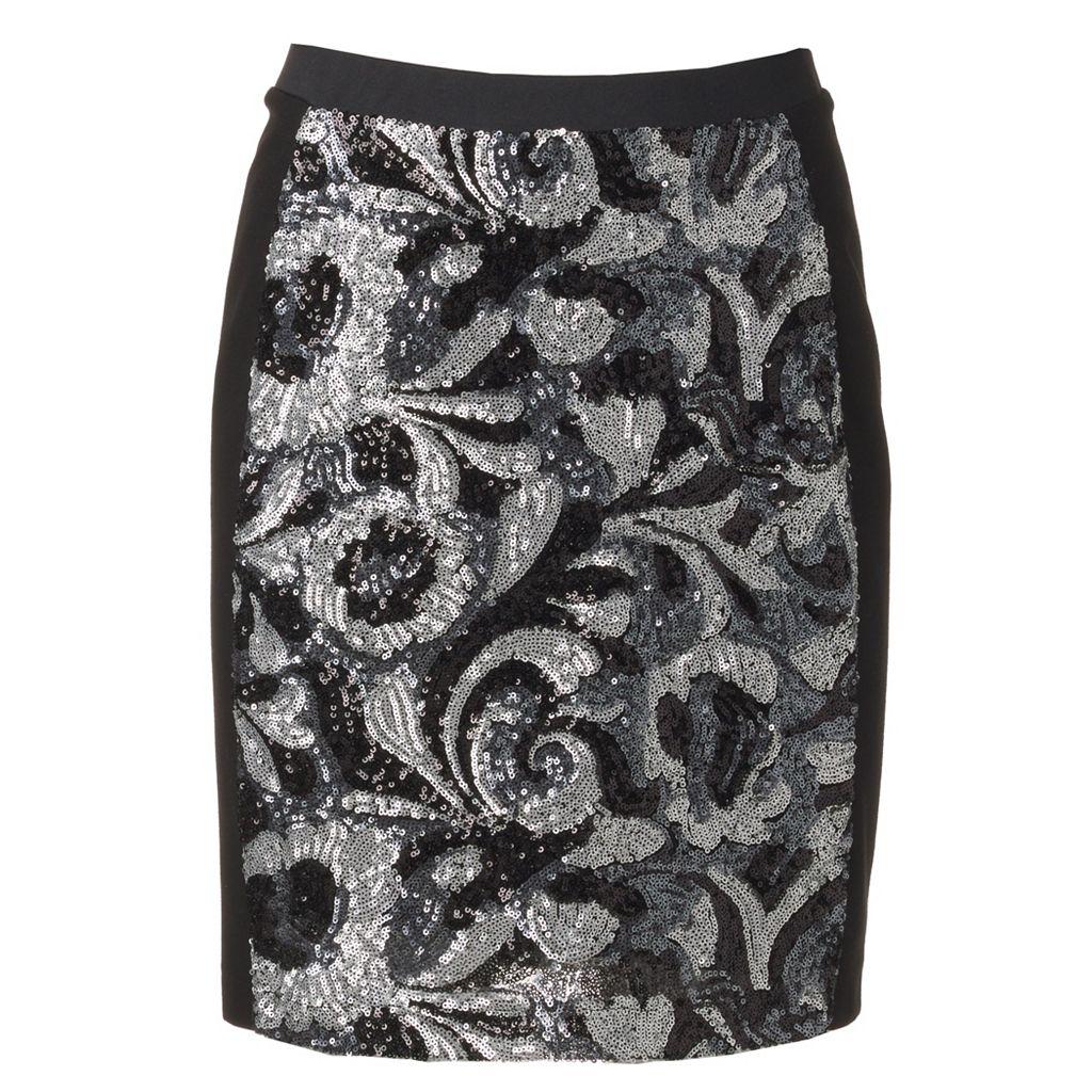Women's WDNY Black Sequin Mini Skirt