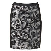 Women's WDNY Black Sequin Mini Skirt